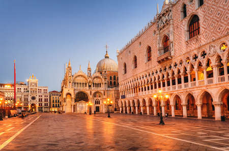 San Marco cathedral and Doges Palace in the early morning light, Venice, Italy