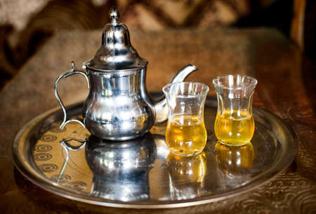 nana: Set of arabic nana mint tea with metal tea pot and glasses