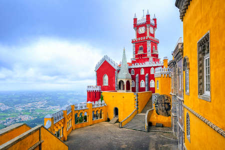 Inner court of Pena Palace, Sintra, Portugal