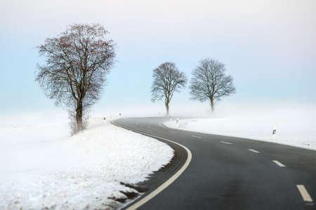 Winding winter road Archivio Fotografico