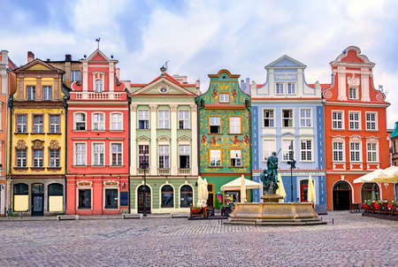 central market: Colorful renaissance facades on the central market square in Poznan, Poland