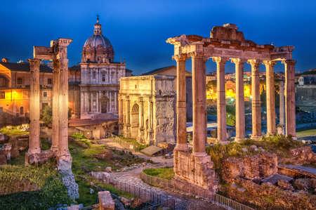 Ruïnes van Roman forum op Capitoline Hill, Rome, Italië Stockfoto