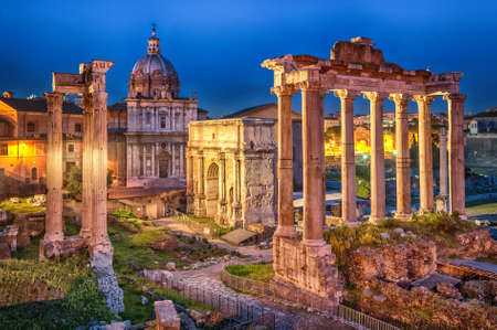 the romans: Ruins of Roman forum on Capitoline hill, Rome, Italy