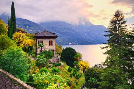 bellagio: Luxury villa and garden on Como Lake by Milan, Italy Editorial