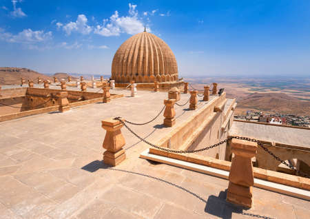 mesopotamian: Dome of Zinciriye Medrese with mesopotamian valley in background, Mardin, south east Turkey