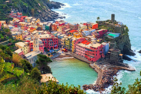 italy landscape: Vernazza in Cinque Terre, Italy, view from mountain trekking path