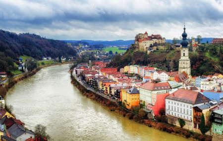 Burghausen, historical german town on Salzach river, Bavaria, Germany 版權商用圖片