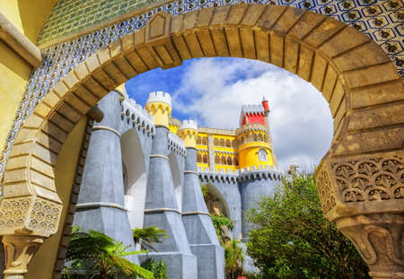 view through: Pena palace, Sintra, Portugal, view through the entrance arch