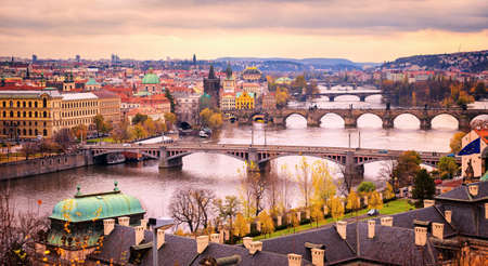 prague: Prague bridge panorama in sunset light, Czech Republic