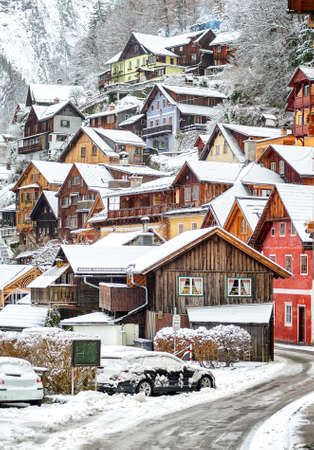 austrian village: Wooden houses in Hallstatt, austrian alpine village by Salzburg, Austria