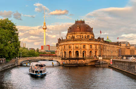 or spree: Museum island on Spree river and Alexanderplatz TV tower in center of Berlin, Germany