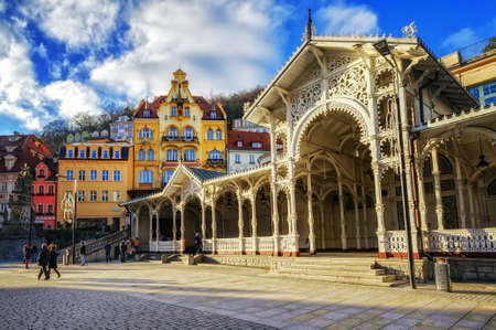 karlovy: Carlsbad, the famous spa city in western Bohemia, very popular tourist destination in Czech Republic Editorial