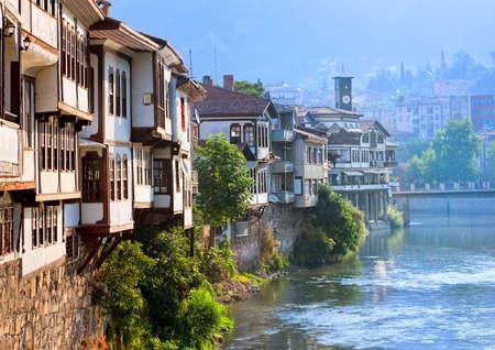 아마스, 터키의 전통적인 오스만 주택 스톡 콘텐츠