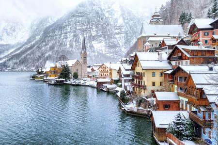 german swiss: Hallstatt by Salzburg, Austria, traditional austrian woodenh town.