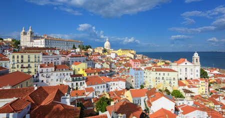 quarter: Panoramic view of Alfama quarter, Lisbon, Portugal Stock Photo