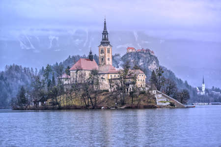 bled: Virgin Mary church on the lake island in Bled, Slovenia