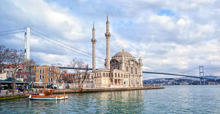 bosporus: Ortakoy mosque and Bosporus bridge on European side in Istanbul, Turkey Stock Photo