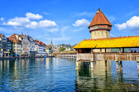 lucerne: Lucerne, Switzerland, cityscape with wooden Chapel bridge and Water tower