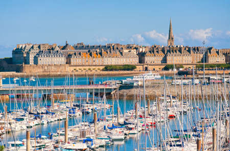 st malo: Yacht harbour and walled city of St Malo, Brittany, France