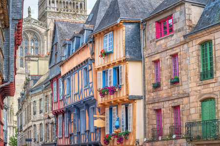 Colorful stone houses in the old town of Quimper, Brittany, France