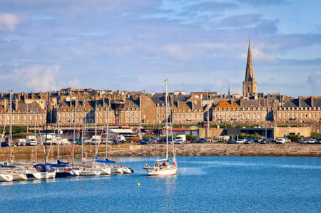 walled: Yacht harbour and walled city of Saint-Malo, Brittany, France