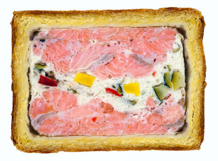 French salmon fish pate closeup isolated on white