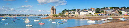 st  malo: Panoramic view of atlantic coast line by St Malo, Brittany, France Stock Photo