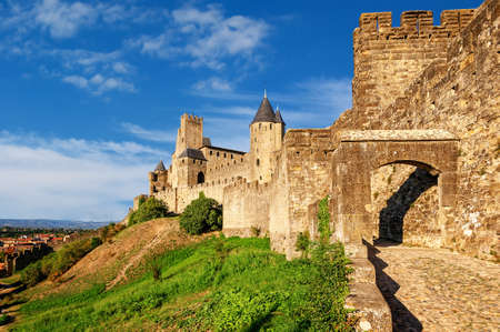 walled: The walled medieval fortress Cite de Carcassonne, Languedoc, France, is on UNESCO World Heritage Sites list Editorial