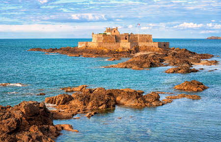 english channel: National Fort on tidal island Petit Be in English Channel, Saint-Malo, Brittany, France