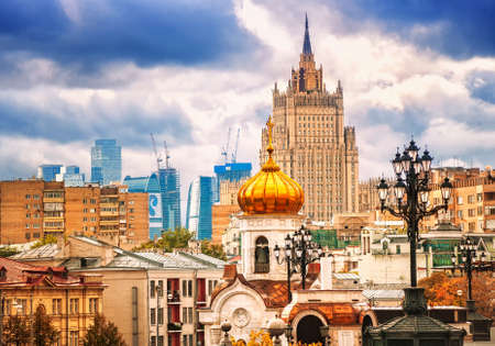 periods: Panoramic view of Moscow featuring traditional russian architecture styles from different time periods, Russia Stock Photo