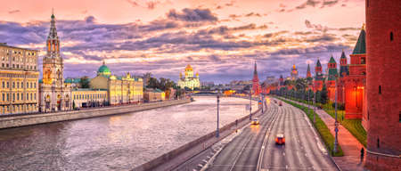 Panoramic view of Moscow Kremlin walls, Christ the Saviour Cathedral and Moskva River at evening light, Moscow, Russia