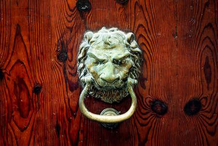 leone di bronzo testa porta manopola decorativo su uno sfondo di legno scuro