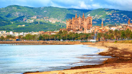 center city: Panoramic view of Palma beach with La Seu cathedral in background, Mallorca, Spain Stock Photo