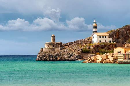 Faro de Soler, costa del mar Mediterráneo, Mallorca, España
