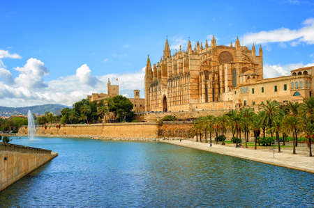 gothic: La Seu, the gothic medieval cathedral of Palma de Mallorca, Spain