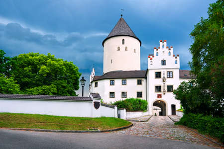 gothic castle: White gothic castle Kronwinkl in Lower Bavaria by Munich, Germany