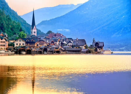 unesco world cultural heritage: Wooden houses in Hallstatt town, Unesco World Culture Heritage Site, on a lake in Alps mountains, Austria Stock Photo