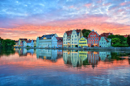 landshut: Dramatic sunset over old town of Landshut by Munich, a colorful gothic german town on Isar river, Germany