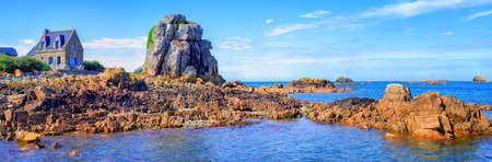 old english: Panoramic view of the rocky atlantic coast of English Channel by Plougrescant, Brittany, France