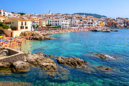 Calella de Palafrugell, traditional whitewashed fisherman village and a popular travel and holiday destination on Costa Brava, Catalonia, Spain Stok Fotoğraf