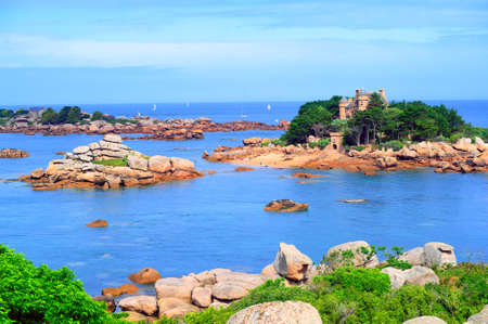 granite park: Tidal islands in a lagoon by Tregastel on English Channel Pink Granite Coast, Brittany, France