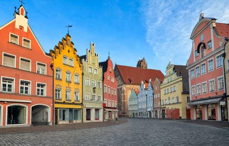 landshut: Picturesque medieval gothic houses in old bavarian town Landshut near Munich, Germany Stock Photo