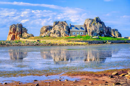 bretagne: The Castel Meur, well known as The House Between The Rocks in Plougrescant, Brittany, France