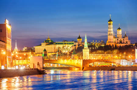 moskva river: Churches of Moscow Kremlin over Moskva River in the evening light, Russia