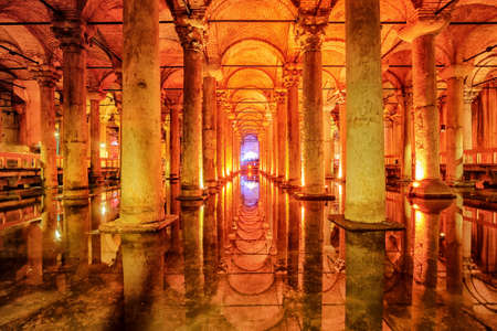 cistern: The Basilica Cistern, or Yerebatan Sarayi, is the ancient underground water reservoir beneath Istanbul city, Turkey