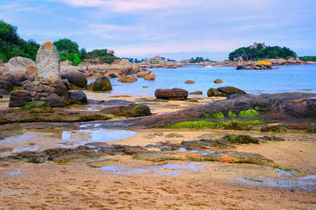 english channel: Sand beach in a lagoon by Tregastel on English Channel Pink Granite Coast, Brittany, France