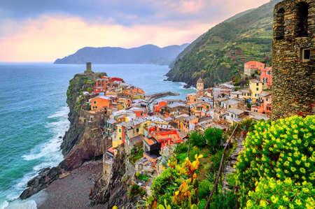 vernazza: Vernazza in Cinque Terre, Liguria, Italy, on sunset