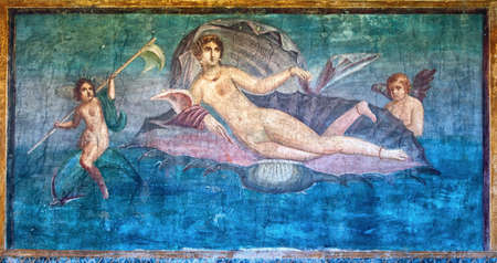 wall paintings: Venus in the Shell, an ancient roman fresco in Temple of Venus, Pompeii excavation site, Italy