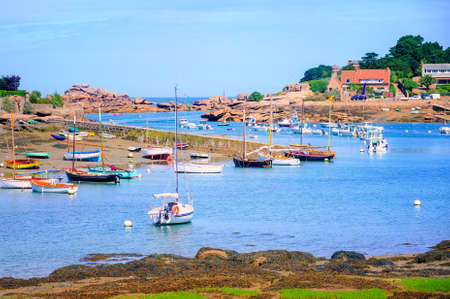 granit: Fishermens boats on Cote de Granit Rose, Atlantic ocean, Brittany, France