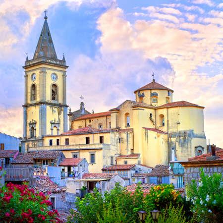 italian village: Catholic church in italian village Novara di Sizilia near Etna volcano, Sicily, Italy Stock Photo